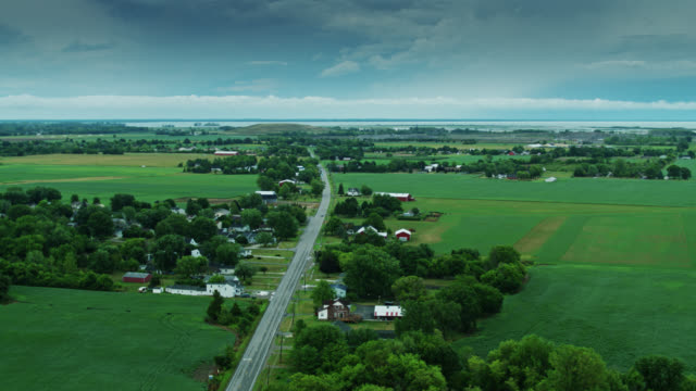 aerial view of newport, michigan with lake erie in distance - michigan stock videos & royalty-free footage