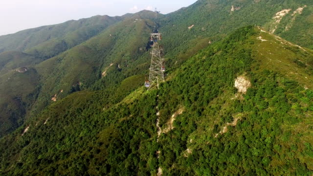 aerial view of ngong ping 360 cable car crossing mountain - overhead cable car stock videos and b-roll footage
