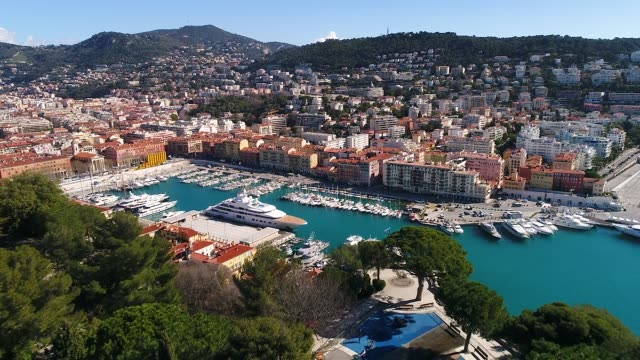 aerial view of nice harbor - france stock videos & royalty-free footage