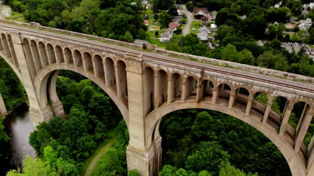 aerial view of nicholson bridge in nicholson pennsylvania - railway bridge stock videos & royalty-free footage