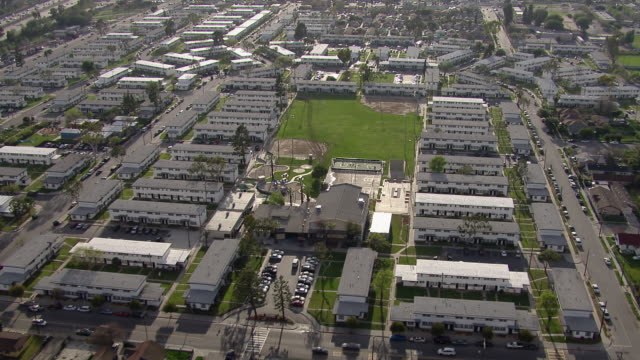 Watts, Los Angeles - March 30, 2011: Aerial view of Nickerson Gardens housing project and basketball courts in Watts, Los Angeles