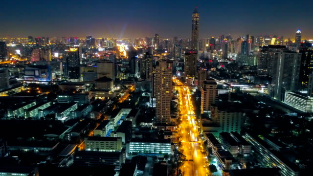 Aerial view of Night City Time-lapse of Bangkok cityscape, Thailand