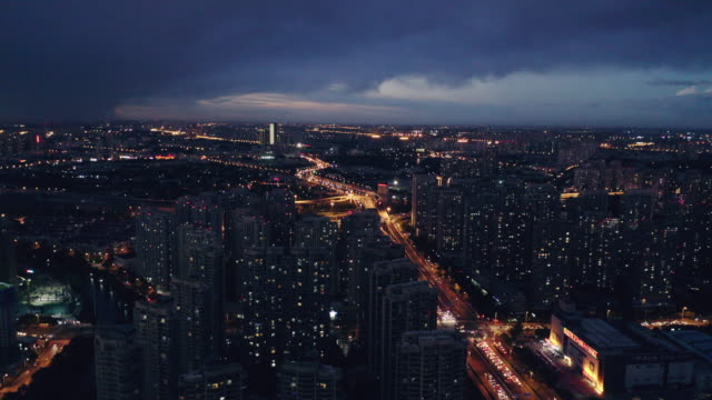 Aerial view of night cityscape