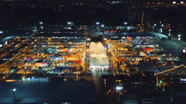 Aerial view of night market in Bangkok