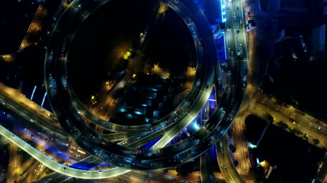 Aerial view of night Nanpu interchange in Shanghai city, China