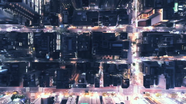 aerial view of night street of office district - 真俯瞰点の映像素材/bロール