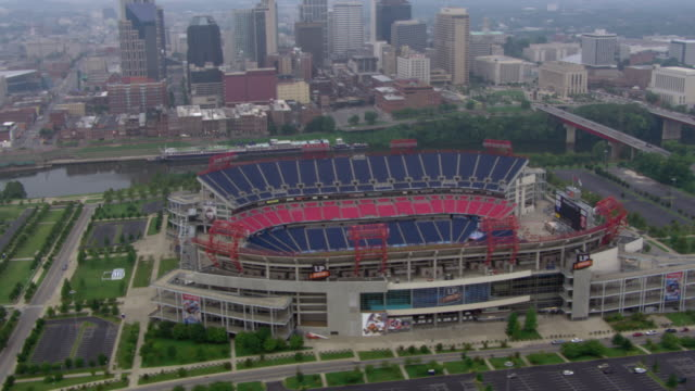 aerial view of nissan stadium in downtown nashville, tennessee, united states of america. - 1 minute or greater stock videos & royalty-free footage
