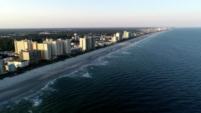 aerial view of north myrtle beach south carolina - myrtle beach stock videos & royalty-free footage