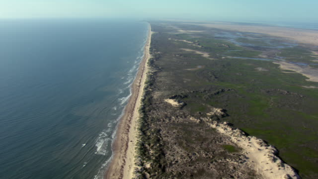 aerial view of north padre island and gulf of mexico, texas. - bay of water stock videos & royalty-free footage
