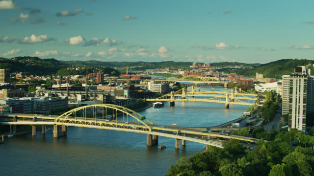 aerial view of north shore pittsburgh - pennsylvania stock videos & royalty-free footage