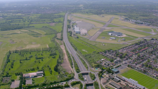 aerial view of northolt airport in london, uk. 4k - british military stock videos & royalty-free footage