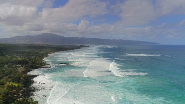 aerial view of northshore hawaii by drone timelapse in 4k - hd format stock-videos und b-roll-filmmaterial