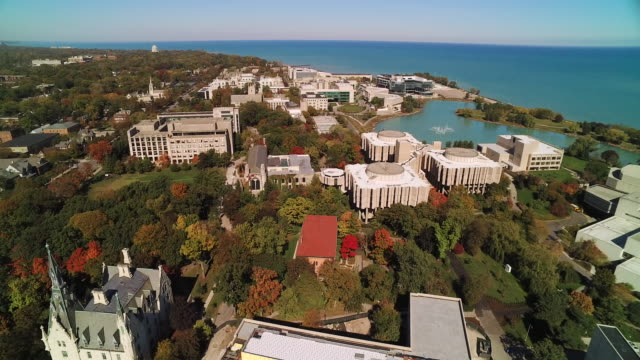 Aerial view of Northwestern University campus on bright autumn day
