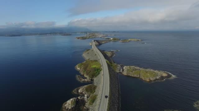 Aerial view of Norway's scenic highway, Atlanterhavsveien (Atlantic Ocean Road)