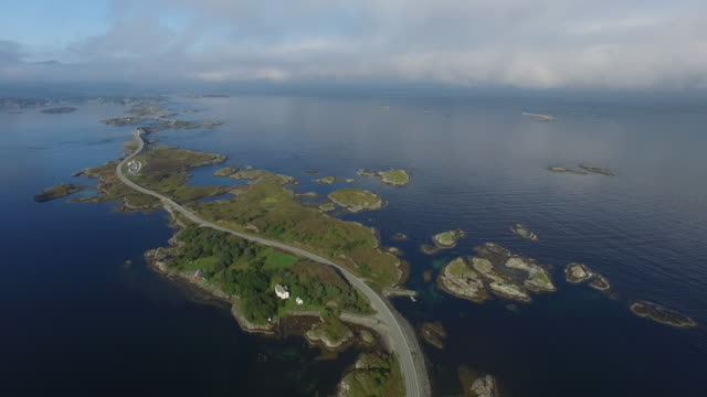 aerial view of norway's scenic highway, atlanterhavsveien (atlantic ocean road) - stone material stock videos & royalty-free footage