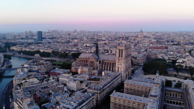 aerial view of notre dame cathedral in paris - river seine stock videos & royalty-free footage