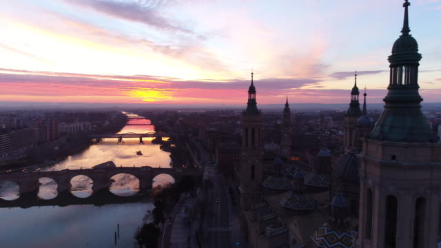 Aerial view of Nuestra Senora del Pilar Basilica and Ebro River at sunset