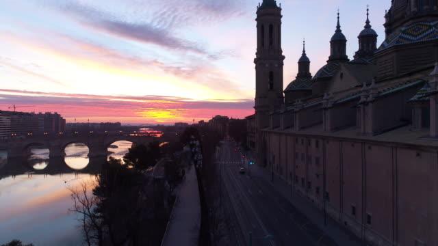 Aerial view of Nuestra Senora del Pilar Basilica and Ebro River at sunset