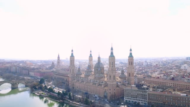 Aerial view of Nuestra Senora del Pilar Basilica and Ebro River