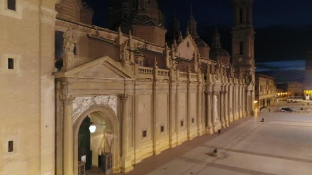 Aerial view of Nuestra Senora del Pilar Basilica and Plaza Del Pilar at Aragon at night