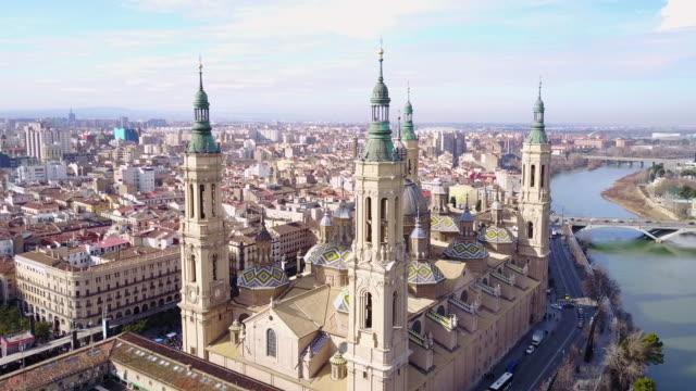 Aerial view of Nuestra Senora del Pilar Basilica and Plaza Del Pilar