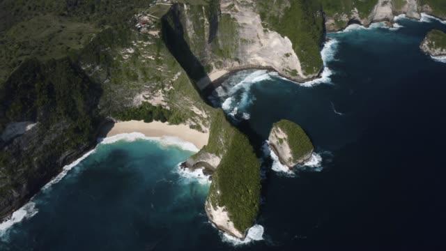 aerial view of nusa penida - scogliera video stock e b–roll