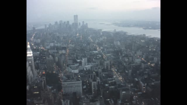 vidéos et rushes de 1985 aerial view of nyc - world trade center manhattan