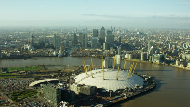 aerial view of o2 arena and river thames - geographical locations stock videos & royalty-free footage