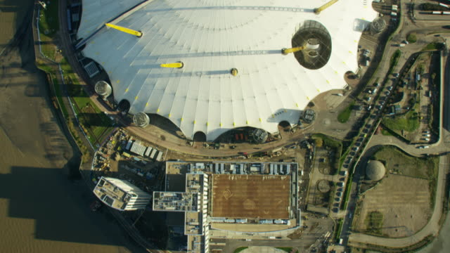 aerial view of o2 arena london england - dome stock videos & royalty-free footage