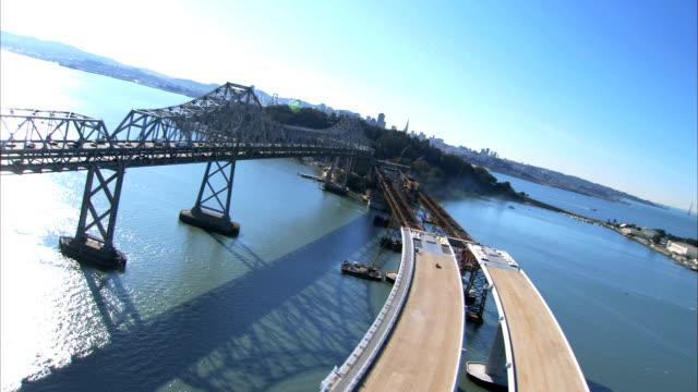 Aerial view of Oakland Bay Bridge construction USA