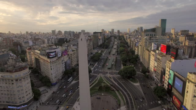 aerial view of obelisk de buenos aires argentina - argentinian culture stock videos & royalty-free footage