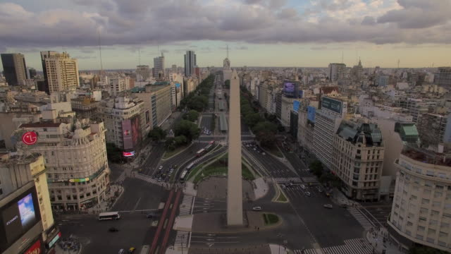 aerial view of obelisk de buenos aires argentina - argentina stock videos & royalty-free footage