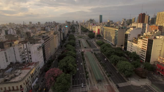 aerial view of obelisk de buenos aires argentina - obelisk stock videos & royalty-free footage