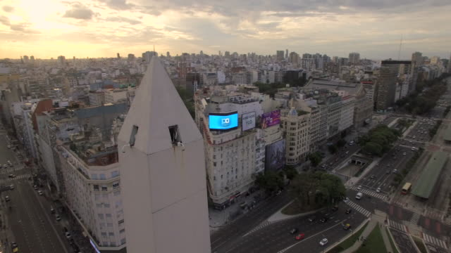 aerial view of obelisk de buenos aires argentina - buenos aires stock videos and b-roll footage
