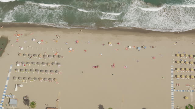 aerial view of ocean beach with umbrellas, sun loungers, bathers and hotels - liegen stock-videos und b-roll-filmmaterial