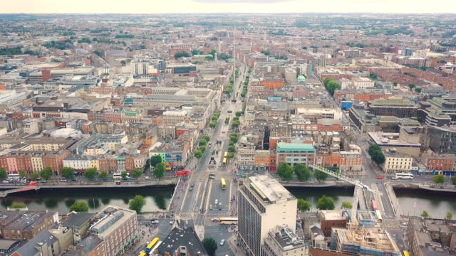 aerial view of o'connell street and dublin spire - dublin ireland stock videos and b-roll footage