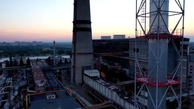 aerial view of of kiev thermal power plant - ukraine stock videos & royalty-free footage