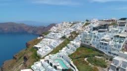 Aerial View of Oia, Santorini, Greece stock video, Tera Fira