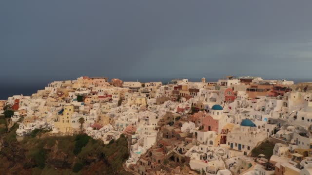 aerial view of oia, santorini, greece - greek islands stock videos and b-roll footage