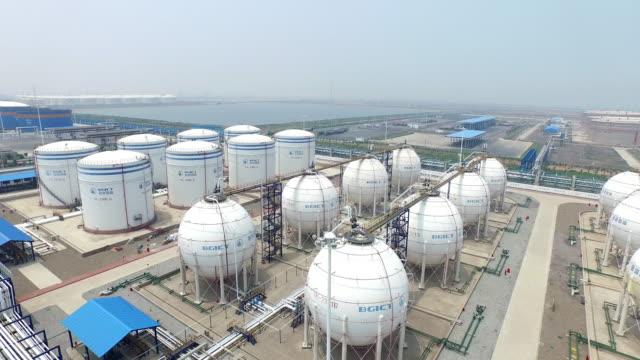 Luftbild von Öl und Benzin-tanks, Hintergrundgeräusche, die Aufnahmen von 4 k