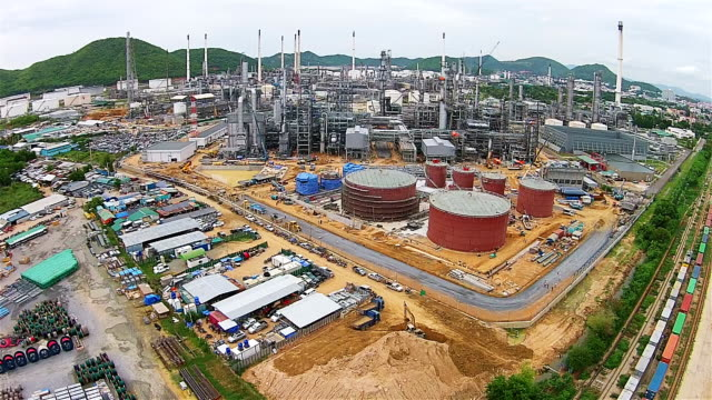Aerial View of Oil and gas industry refinery of factory,  petrochemical plant.