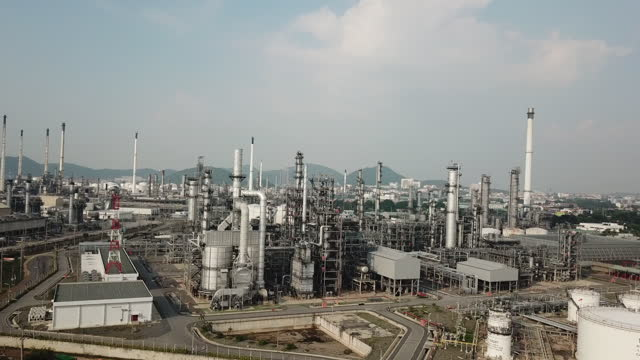 aerial view of oil petrochemical plant - industrial district stock videos & royalty-free footage