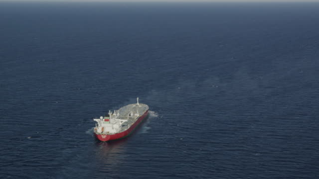 aerial view of oil products tanker, red r3d 4k - tanker stock videos & royalty-free footage