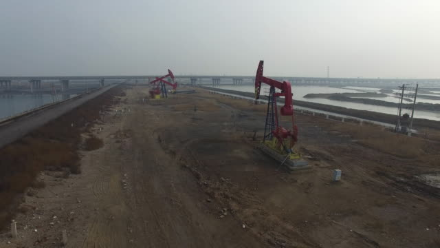 Aerial view of oil pumping units on Jan 06 2017 at Dagang oil field Tianjin China