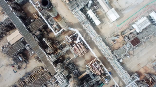 aerial view of oil refinery facilities - industrial district stock videos & royalty-free footage