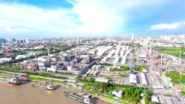Aerial view of Oil Refinery near River, Bangkok, Thailand