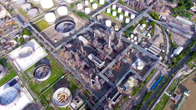 aerial view of oil refinery near river, bangkok, thailand - gas pipe stock videos and b-roll footage
