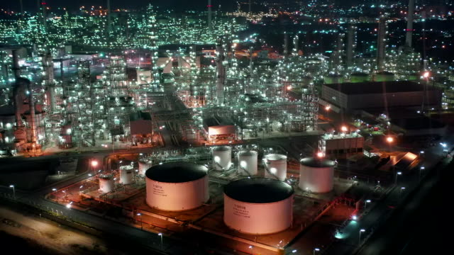 aerial view of oil refinery plant - tower stock videos & royalty-free footage