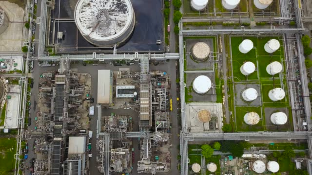 aerial view of oil refinery plant - telecommunications equipment stock videos and b-roll footage