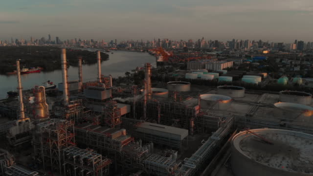 aerial view of oil refinery - storage tank stock videos & royalty-free footage